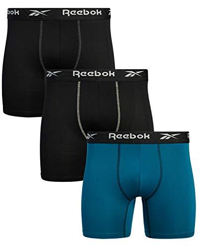 Reebok Men's Underwear - Performance Boxer Briefs (3 Pack) (Black/Blue, Medium)