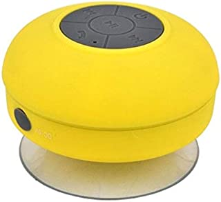 Waterproof Bluetooth Speaker Mini Portable Subwoofer Shower Wireless Waterproof Bluetooth Speaker Handsfree Receive Call Music Suction Mic for iPhone Samsung(Black) (Color : Yellow)