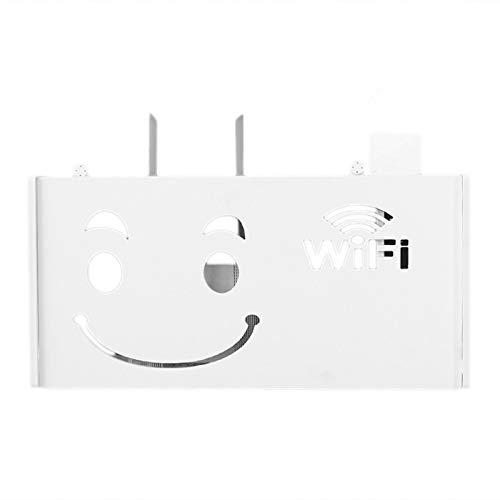 Cikuso Caja de Almacenamiento de Router Inalámbrico WiFi Estantería de Madera Y Plástico Soporte para Colgar En La Pared Almacenamiento de Cable Decoración del Hogar- Veneciano