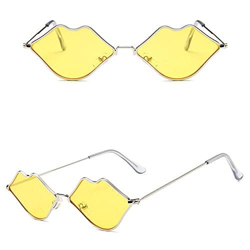 WQZYY&ASDCD Gafas de Sol Gafas De Sol con Forma De Boca Roja para Mujer, Gafas De Sol con Sombras De Labios Anormales, Gafas Únicas para Mujer, Lentes Transparentes para El Océano, Oro