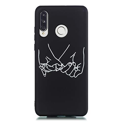 ChoosEU Compatible avec Coque Huawei P30 Lite Silicone Souple Noir Motif pour Filles Femmes Homme Etui Soft Étui Ultra Fine Antichoc Housse Mince Case Protection - B