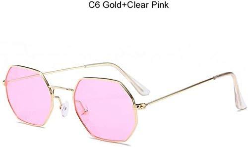 ZYIZEE Gafas de Sol Gafas De Sol Transparentes Gafas De Sol De Moda De Lente Plana para Mujer Gafas De Sol Cuadradas Doradas De Tonos Oscuros Hombres-Gold_Pink