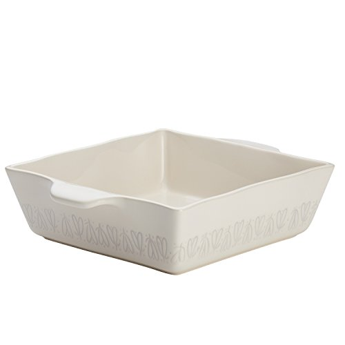 Ayesha Curry Home Collection Stoneware Square Baker, 8-Inch x 8-Inch, Cream