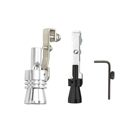 DingLong Aluminiumlegierung Auspuffrohr Lautsprecher 2PCS, Kfz-Nachrüst Turbinen-Nachrüstung, Pfeife Auspuff Oversized Roar Maker, Größe-S/M/L/XL (S)