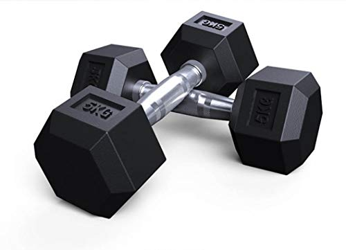 Generico Coppia Pesi Manubri Esagonali per Palestra Casa Body Building Weight Dumbbells Disponibili da 2.5kg -10kg(Venduti in Coppia) (5kg×2)*10kg in Totale*