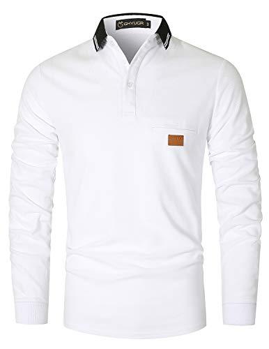 GHYUGR Polo Hombre Manga Larga Contraste Escote Otoño Invierno Deporte Golf Tennis Oficina T-Shirt Camiseta