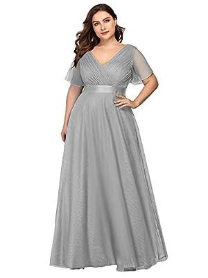 Ever-Pretty Women's V-Neck Short Sleeve Empire Waist Long Plus Size Bridesmaid Dress Grey US16