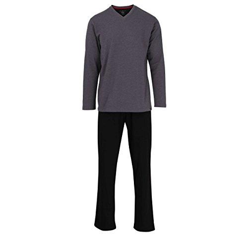 Bugatti Herren Pyjama, Kurzarm, Schlafanzug, Shirt und Hose, Baumwolle, Single Jersey, grau, Melange 56
