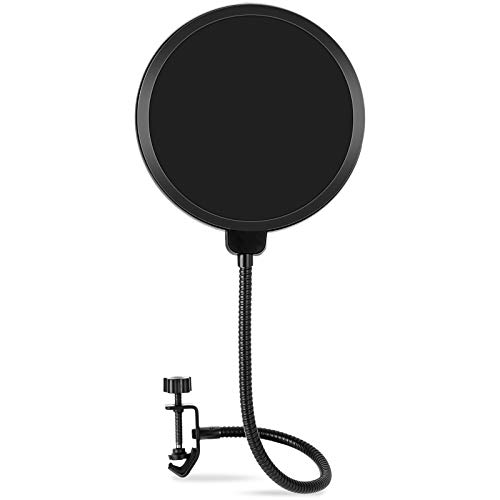 Microphone Pop Filter for Blue Yeti and Other Mic, LILALIWA 6 Inch Dual Layered Pop Wind Screen with Enhanced Flexible 360° Gooseneck Clip Stabilizing Arm for Vocal Recording and Live Broadcasting