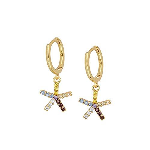 YFZCLYZAXET Pendientes Mujer Pendientes De Circonita Moda Creativos Pendientes Geométricos Simples Joyería De Oreja Femenina-Oro