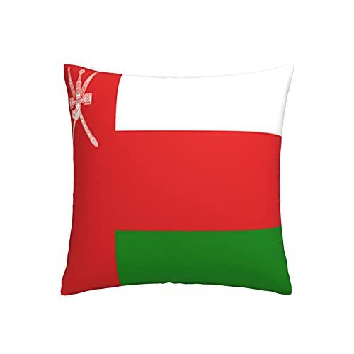 Kissenbezug, Motiv: Flagge von Oman, quadratisch, dekorativer Kissenbezug für Sofa, Couch, Zuhause, Schlafzimmer, für drinnen & draußen, 45,7 x 45,7 cm