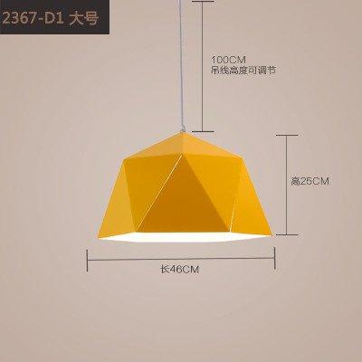 Luckyfree Moderne, eenvoudige geometrische strijkijzer, diamant, hanglamp voor de kamer, bar, café, restaurant, keuken, hal, lampen, plafondlamp, kroonluchter, diameter 45 cm buiten het geel wit + ledlamp