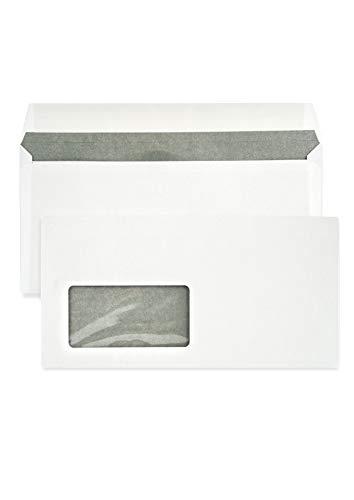 1000 weiße DIN lang Briefumschläge mit Fenster (links) 110X220 mm 80g Briefkuverts weiß mit grauem Innendruck gerade Klappe haftklebend Briefhüllen Geschäftsumschläge Fensterumschläge DL
