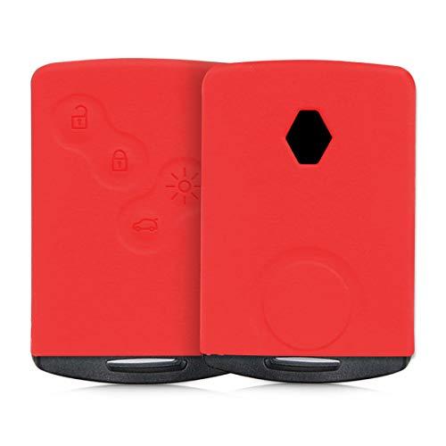 kwmobile Funda de Silicona Compatible con Renault Llave de Coche de 4 Botones (Solo Keyless Go) - Carcasa Suave de Silicona - Case Mando de Auto Rojo