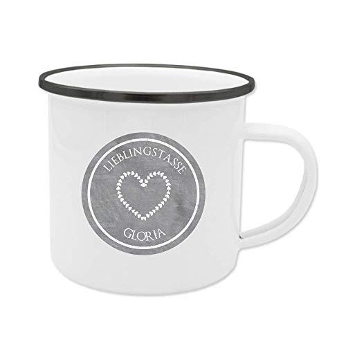 Lieblingstasse mit Name, Tasse aus Emaille, personalisiert, Geschenkidee für Sie