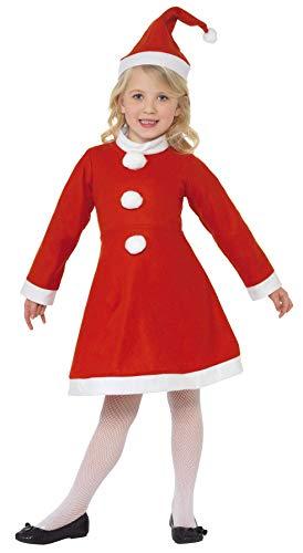 SMIFFYS Smiffy's Costume Ragazza Babbo Natale, Rosso, con Abito e Cappello, Rosa, S - Età 4-6 anni, 38385S