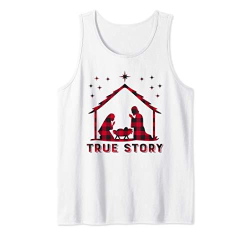 Red Plaid True Story of Jesus Birth Nativity Christmas Gift Tank Top