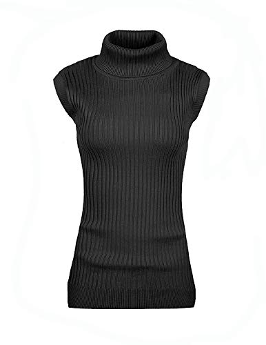 v28 Women Sleeveless High Neck Turtleneck Stretchable Knit Sweater Top-2X,Black