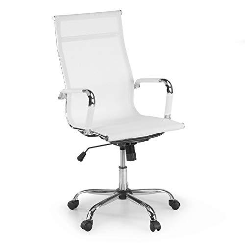 Ofichairs Silla Spirit Silla de Oficina Giratoria Silla Escritorio de Diseño Respaldo de Red Alto Mecanismo Basculante Color Blanco