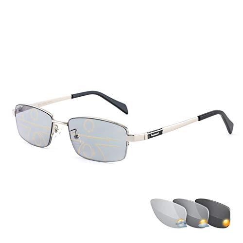 YZJJ Photochromic Reading Glasses, Progressive Multi-Focus Glasses for Men and Women,Intelligent Color Changing Sunglasses,Far and Near Dual-Use Eyewear,Half Rim Metal Frame,Anti Eyestrain