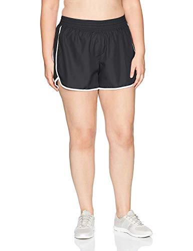 Just My Size Women's Plus Size Active Woven Run Short, Black, 2X