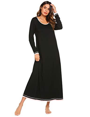 Ekouaer Plus Size Nightgown Womens Long Sleeve Nightshirt Long Sleepwear Gown (Black,XXL)