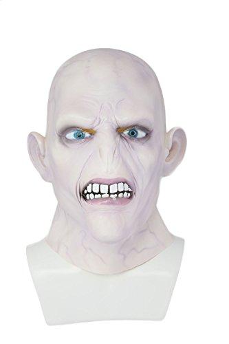 Lord Voldemort Mask Máscara de Tom Marvolo Riddle Impresión 3D Halloween Carnaval Cosplay Costume Accesorio Navidad Mágica Adultos Látex Fleshcolour Unisex para Hombre Mujer