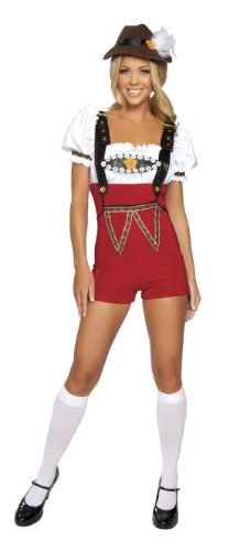 Roma Costume 4 Piece Beer Stein Babe Costume, White/Red, Medium/Large