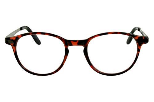 Leesbril Rond met Leuke Grote Bril rood Zwart voor Dames Heren Licht Transparant Kunststof Frame Smalle Metalen Hangers met case Dioptrien 3.0