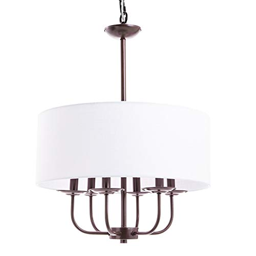 CO-Z Traditional Drum Chandelier Lighting Bronze, 18'' Modern Farmhouse Pendant Light with White Fabric Shade, 6 Light Ceiling Light Fixture for Kitchen Island Dining Table Bedroom Entry Bar Hallway.