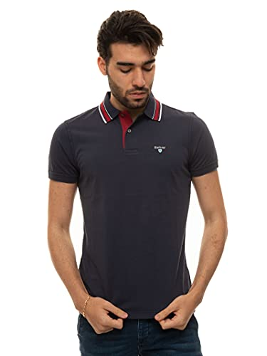 Barbour Poloshirt für Herren, kurzärmlig, Baumwolle, Blau, Blau Large