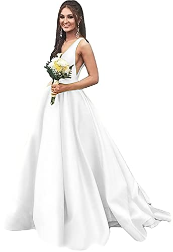 Rjer V Neck Prom Dresses Long A line Satin Ball Gowns with Pockets for Women Formal 2020 White Size 2