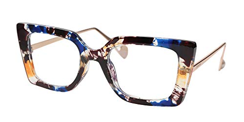 SOOLALA Anti-Blue Block Light Pearl Inlay Arm Cat Eye Reading Glasses, Floral, 2.0