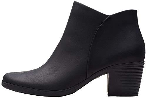 Clarks Damen Un Lindel Zip Stiefeletten Kurzschaft Stiefel, Schwarz (Black Oily Leather), 42 EU