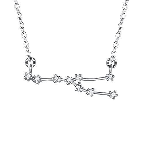 Clearine Halskette Sternzeichen 925 Sterling Silber CZ- Stier Sternbild 12 Horoskop Astrologie Anhänger Kette klar für Damen Mädschen