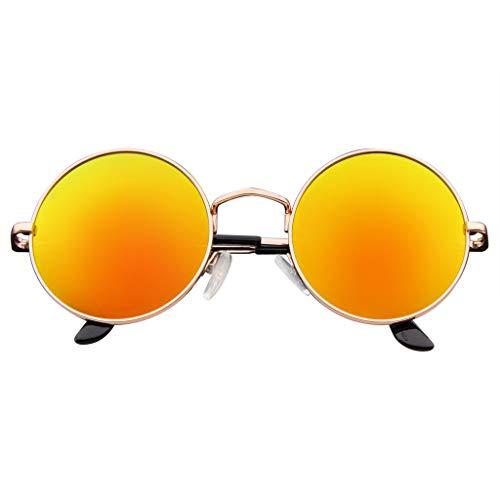 Emblem Eyewear John Lennon inspiriert Sonnenbrille Runde Hippie Schattierungen Retro Farbige Linsen (Orange-Eis)