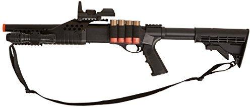 BBTac BT-BT180C2 Pump Action RIS Airsoft Shotgun with Retractable LE Stock,black