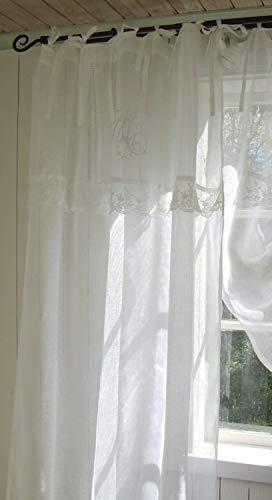 LillaBelle WEIß Vorhang Mariella Leinen Gardinen 1 Schal B x H 120x240 cm Shabby Vintage Bandaufhängung