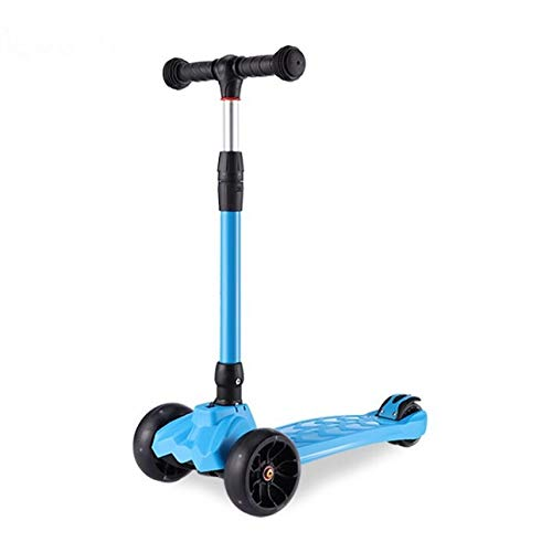 Three (3) Wheel Toddler/Child Scooter, Foldable with Adjustable Height and Lean Steer Design (Blue)