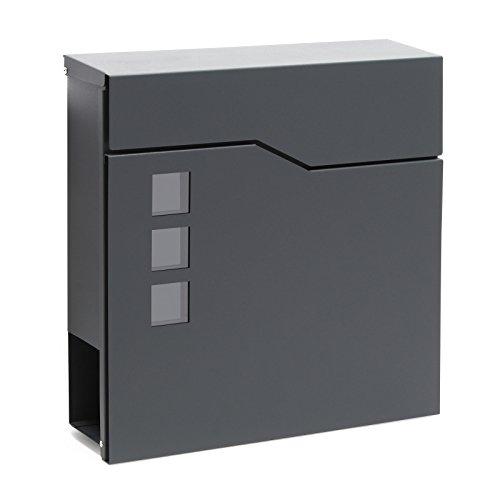 Buzón Diseño Moderno V20 Antracita Compartimiento Periódico Acero recubierto en polvo