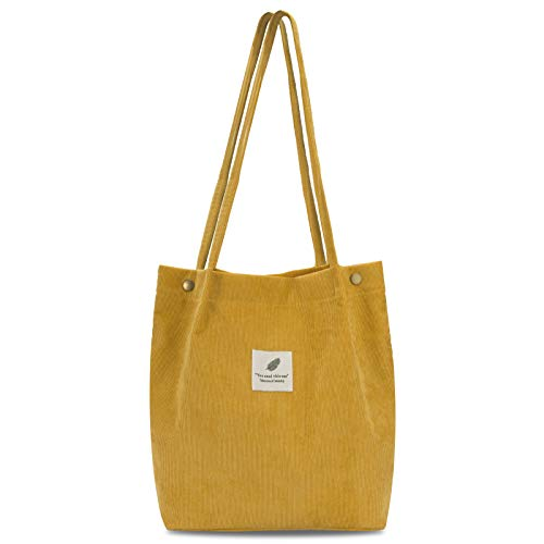 Lermende Corduroy Tote Bag For Women, Canvas Bag, Tote Bag With Pockets, Silde Notebook Book Tote Purse, Small Cute Tote Bags For Student Teacher,Work Cloth Tote Bags (Yellow)