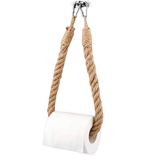 TikiNi Soporte para papel higiénico con cuerda de cáñamo, retro, fácil de instalar, materiales respetuosos con el medio ambiente, adecuado para baño, dormitorio, cocina