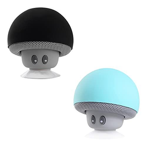 MOBO Bocina Bluetooth Portátil Honguito Micrófono Integrado Color Azul y Negro