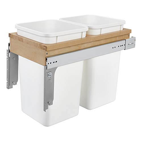 Rev-A-Shelf 4WCTM-15DM2 Double 27 Quart Top Mount Pull Out Kitchen Waste Trash Container Bin for 12 Inch Wide 1.5 Inch Faceframe Cabinets, White