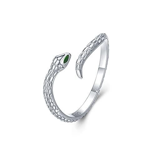 Anillo de serpiente de plata de ley 925 ajustable anillos abiertos apilables joyería serpiente regalos para unisex mujeres hombres