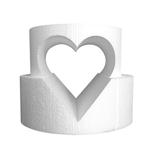 """Round Cake Dummy Set with Heart Cutout 8"""" x 4"""" top tier and 10"""" x 4"""" bottom tier with a 6"""" heart cutout"""