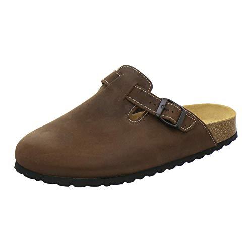 AFS-Schuhe 3900 Herren Clogs, Bequeme Hausschuhe für Männer, Pantoffeln aus Leder, Made in Germany (46 EU, Braun/Tabak)