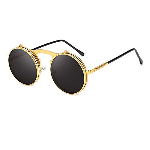 Gafas de Sol para Mujer Moda Flip Up Steampunk Sunglasses Hombres Retro Metal Marco Redondo Gafas de Sol Mujeres Hombres Punk Sunglass (Frame Color : 133 * 72cm, Lenses Color : Gold-Black)