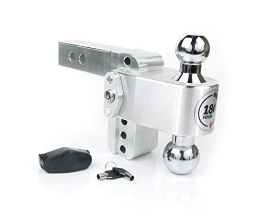 Weigh Safe CTB4-2, 4' Drop 180 Hitch w/ 2' Shank/Shaft, Adjustable Aluminum Trailer Hitch & Ball Mount, Chrome Plated Steel Combo Ball (2' & 2-5/16') and a Double-pin Key Lock