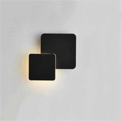 Vinteen Nordique Simple Réglable Applique Murale Chambre Lampe De Chevet Led Creative Salon Salle À Manger Escalier Allée Ronde Mur Lumière Fer Art De Mode Lanterne Murale (Color : Square Black)